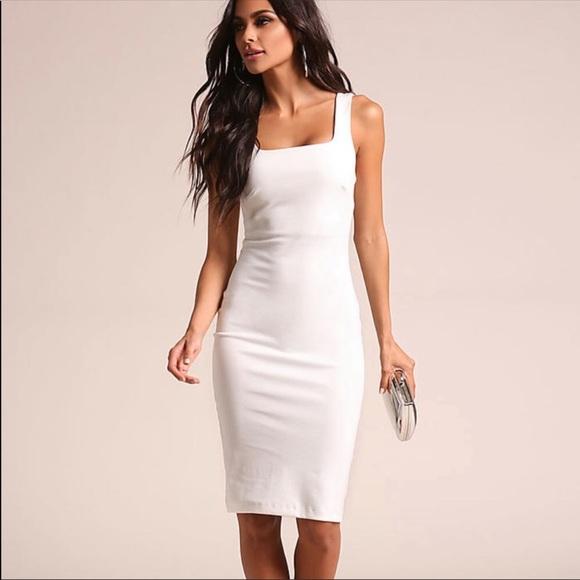 Boohoo White Square Neck Midi Dress Nwt